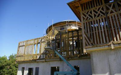 Construction de l'ossature bois des façades nord et sud