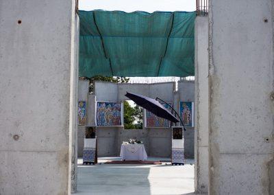 L'autel provisoire installé pour la bénédiction
